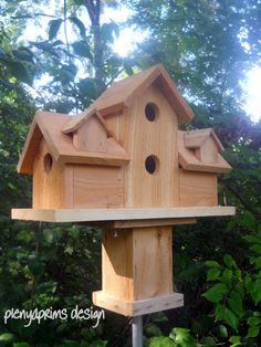 Birdhouse,4 nests rustic bird house.folk art primitives.