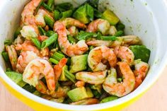 Shrimp with avocado salad - I added chopped cilantro and black pepper and fixed portions to make it work - 1 red, 1 blue, 1 green (over lettuce), 1 t