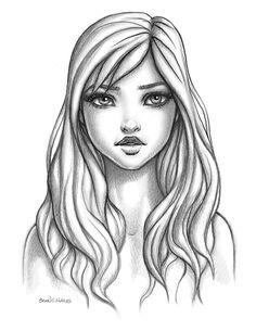 Brian C Hailes - Portfolio - Female Face Cartoon Style Female Face Drawing, Girl Face Drawing, Girl Drawing Sketches, Face Sketch, Cartoon Girl Drawing, Portrait Sketches, Art Drawings Sketches Simple, Pencil Art Drawings, Cute Drawings Of People