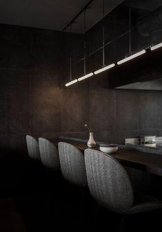 Naervaer wine bar & restaurant by Norm Architects in Copenhagen Wine Bar Restaurant, Restaurant Seating, Restaurant Design, Blue Velvet Dining Chairs, Mid Century Dining Chairs, Pallet Seating, Bar Seating, Greenhouse Bar, Recycled Plastic Adirondack Chairs