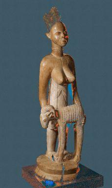 YORUBA STANDING FEMALE FIGURE OFFERING A RAM, NIGERIA - Sotheby's