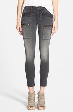 Treasure&Bond Ankle Skinny Jeans (Jet Grey Worn) available at #Nordstrom. Like the details.