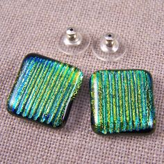 Dichroic Earrings Golden Yellow Green Striped Reed by HaydenBrook, $17.99