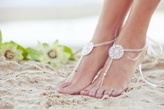 Barefoot sandal, beach wedding anklet, footless sandles, rhinestone & silver barefoot bridal jewelry. BEYONCE Small