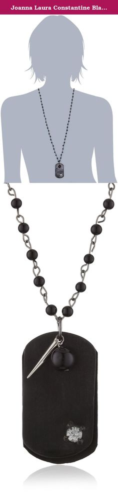 Joanna Laura Constantine Black Dog tag Rosary Beads Necklace. Show off your edgy side with the Joanna Laura Constantine Black Dog Tag Rosary Beads Necklace. A gunmetal dog tag--featuring leather detailing and a glittering crystal--dangles from a 15.5-inch rosary-style beaded chain. A small metal spike and black bead charms complement the design, and an included cloth bag keeps this unique accessory looking great between uses.