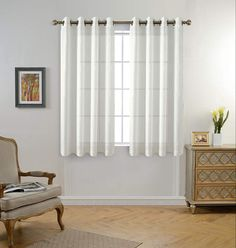 MIUCO Floral Embroidery Semi Sheer Curtains Faux Linen Grommet Curtains for Bedroom 52 x 63 Inch 2 Panels, Off White Room, Living Room Color, Bedroom Panel, Curtains Living Room, Panel Curtains, Grommet Curtains, Curtains Bedroom, Girls Room Curtains, Sheer Curtain Panels