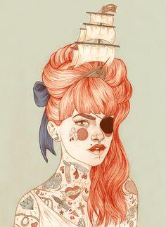 Os personagens tatuados de Liz Clements - Choco la Design   Choco la Design   Design é como chocolate, deixa tudo mais gostoso.