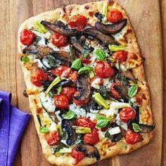 flatbread pizza with roasted cherry tomatoes & portobello mushrooms