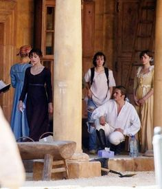 Mr. Wickham and his bottle of water and his tissues.  And Jena Malone's backpack.  So cute. (Behind the scenes at PRIDE AND PREJUDICE - the most recent version.)