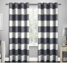 96 Inch Indigo White Rugby Stripes Curtains Pair Panel Set Blue Color Drapes Cabana Striped Pattern Window Treatments Nautical Sports Themed