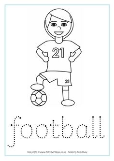 Football handwriting worksheet. -great to help your little sponsored children practice writing, English, and they can colour as well.