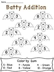 Batty Addition color by sum! Halloween Fun!: