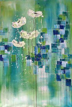 rice of poppies, abstrakte Blütenmalerei in Acryl, 100x150 cm, 2016