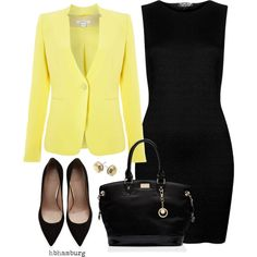 No. 428 - Yellow & Black by hbhamburg on Polyvore featuring Topshop, Marella, Stuart Weitzman, Michael Kors and Forever New