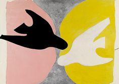 - Georges Braque - L'Oiseau noir et l'oiseau blanc Black bird and white bird Pájaro negro y pájaro blanco 1960 Things we love. Georges Braque, Art And Illustration, Raoul Dufy, Matisse, Modern Art, Contemporary Art, Guggenheim Bilbao, Catalogue Raisonne, Art Plastique