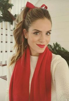 white sweater, red scarf, leggings, brown boots, red bow, red lipstick {winter}