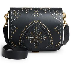 Women's Burberry Studded Lambskin Leather Shoulder Bag (25.218.650 IDR) ❤ liked on Polyvore featuring bags, handbags, shoulder bags, black, flap purse, studded shoulder bag, burberry handbags, shoulder handbags and shoulder bag purse