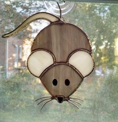 Stained Glass Mouse Suncatcher - Mouse Ornament - Glass Art - Mice - Christmas Mouse