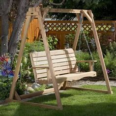 Fantastic Porch swing set by All Things Cedar. Free Delivery Made in USA Clear grain Western Red Cedar Includes Porch swing Springs Rust-resistant zinc plated hardware Hanging Chain and hooks Load Weight approx. A Frame Swing Set, Porch Swing Frame, Porch Swing With Stand, Bench Swing, Wood Swing, Pergola Swing, Pergola Patio, Frame Stand, Wooden Swing Frame