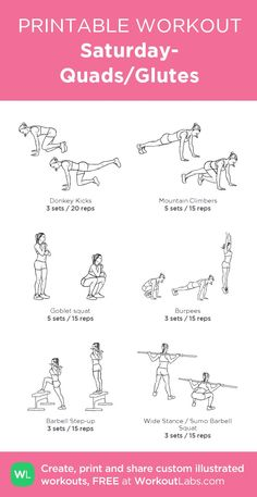 Saturday- Quads/Glutes : my custom printable workout by - Krafttraining & Crossfit - Workout Motivation Workout Plan Gym, Gym Workout Plan For Women, Pilates Workout, Workout Schedule, Daily Gym Workout, Leg Workout Women, Upper Body Workout For Women, Workout Kettlebell, Basic Workout
