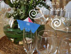 MAR DE PAPEL: La comunión de Samuel: marinera marinerísima!! Wine Glass, Place Cards, Place Card Holders, Tableware, Paper Envelopes, Dinnerware, Tablewares, Dishes, Place Settings