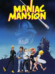 "Box art for ""Maniac Mansion,"" an offbeat puzzle / adventure game by Lucasfilm Games for the Commodore 64 and other personal computers, 1987 Games Box, Old Games, Hamsters, King's Quest, Tim Burton, Lucas Arts, Retro Video Games, Retro Games, Vintage Games"