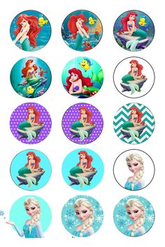 frozen y ariel Bottle Cap Jewelry, Bottle Cap Art, Bottle Cap Images, Bottle Cap Projects, Bottle Cap Crafts, Diy Bottle, Little Mermaid Birthday, The Little Mermaid, Printable Images