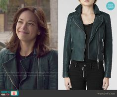 Cat's green leather jacket on Beauty and the Beast.  Outfit Details: http://wornontv.net/50477/ #BATB