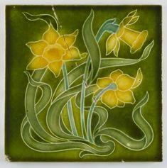 Antique Henry Richards, Art Nouveau Daffodil Ceramic Tile - 1905