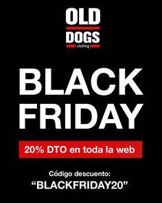 """BLACK FRIDAY  www.olddogs.es  . 20% de descuento en toda la web durante todo el viernes! . Aprovecha la oportunidad y haz tus compras navideñas. Utiliza el código """"BLACKFRIDAY20"""" en el proceso de compra para aplicar un descuento del 20% en todos los productos. . WOOF WOOF #olddogs #blackfriday #sales #coruña #dogtown #doggie #hypebeast #streetwear"""