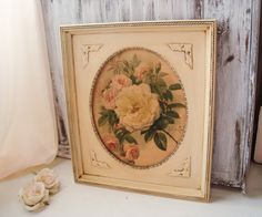 Vintage Ornate Oval Cream Frame with Rose by WillowsEndCottage