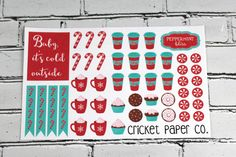 *** DESCRIPTION ***  This sticker set has a variety of shapes and patterns that are perfect for Winter with a Peppermint Bliss theme. This listing