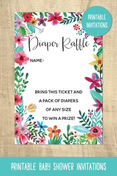 Flower diaper raffle card | instant download | printable | colorful | boho