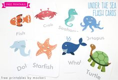 Free Printable: Under The Sea Flash Cards