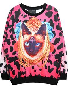 Sudadera Gato Leopardo manga larga-Rosado 0.00