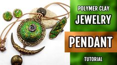 NEW! Ethnic Jewelry Set with Round green Pendant with Lisa Pavelka Foils...