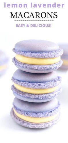 Lavender Macaroon Cookies Lemon lavender macarons that and light and perfect for any party Lavender And Lemon, Lavender Cake, Lavender Fields, Macaron Fimo, Lavender Macarons, Lemon Macarons, Lemon Macaron Recipe, Homemade Macarons, Cookie Recipes