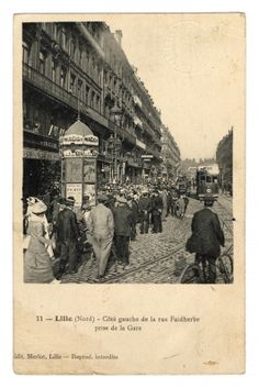 Lille, rue Faidherbe, le premier jour de la mobilisation , 2 aout 1914