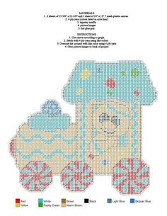 Pc Plastic Canvas Ornaments, Plastic Canvas Crafts, Plastic Canvas Patterns, Cut Canvas, Wall Canvas, Gingerbread Train, Cross Stitch Christmas Ornaments, Christmas Patterns, Crochet Christmas