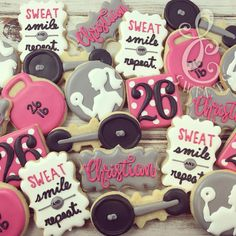 """579 Likes, 14 Comments - Lydia Carter (@lc_sweets) on Instagram: """"Sweat, smile and repeat. #lcsweets #customcookies #decoratedcookies #dfw #workout #barbell…"""""""