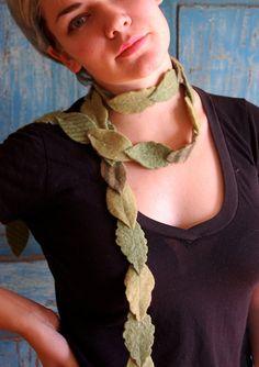 leafy scarf or garland  upcycled wool felt by bigbrownhouse, $36.00