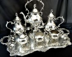 Baroque silver tea set samovar tray English Silver Co. c. 1950 from Victoria's Curio Exclusively on Ruby Lane
