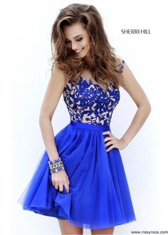 Sherri Hill 11171 - Royal Embroidered Short Dress - RissyRoos.com