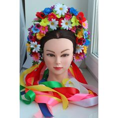 Ukrainian Wreath Flower Headdress Head Vinok Hoop Lush Crown for women... ($29) ❤ liked on Polyvore featuring accessories, hair accessories, flower crown, floral crown, daisy hair accessories, floral garland and daisy crown