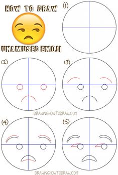 How to Draw Unamused Emoji Face or Meh Face with Easy Drawing Tutorial - How to Draw Step by Step Drawing Tutorials- Learn how to draw unamused emoji face step by step drawing lesson Easy Drawing Tutorial, Easy Drawing Steps, How To Draw Steps, Step By Step Drawing, Learn To Draw, Emoji Drawings, Kawaii Drawings, Hipster Drawings, Pencil Drawings