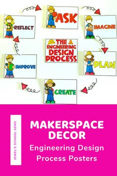 This fun MakerSpace Decor set comes with posters that can be used to remind your students of the six steps in the Engineering Design Process. These Engineering Design Process Posters will look great as decoration for your science/STEM/STEAM/STREAM classroom, bulletin boards, and school library. They can also be helpful during STEM activities for kids. #makerspace