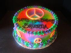 Custom designed Tie Dye Peace Sign Fondant Cake