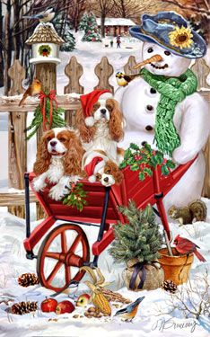 """New for 2011! Cavalier King Charles ChristmasCards are 8 1/2"""" x 5 1/2"""" and come in packages of 12 cards. One design per package. All designs include envelopes, your personal message, and choice of greeting. Select the inside greeting of your choice from the menu below.Add your personal message to the Comments box during checkout."""