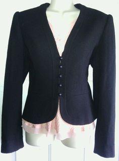 DVF blazer Sz 4 black Diane Von Furstenberg  wool High End lined upscale  jacket #DVF #Blazer