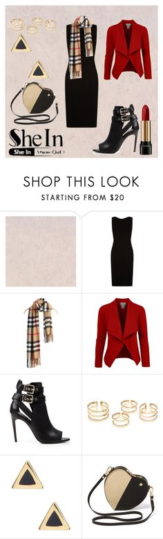 """""""Khaki Plaid Tassel Scarves Shein Contest"""" by bmissypride ❤ liked on Polyvore featuring BOSS Hugo Boss, Burberry, Ariella Collection and Lancôme"""
